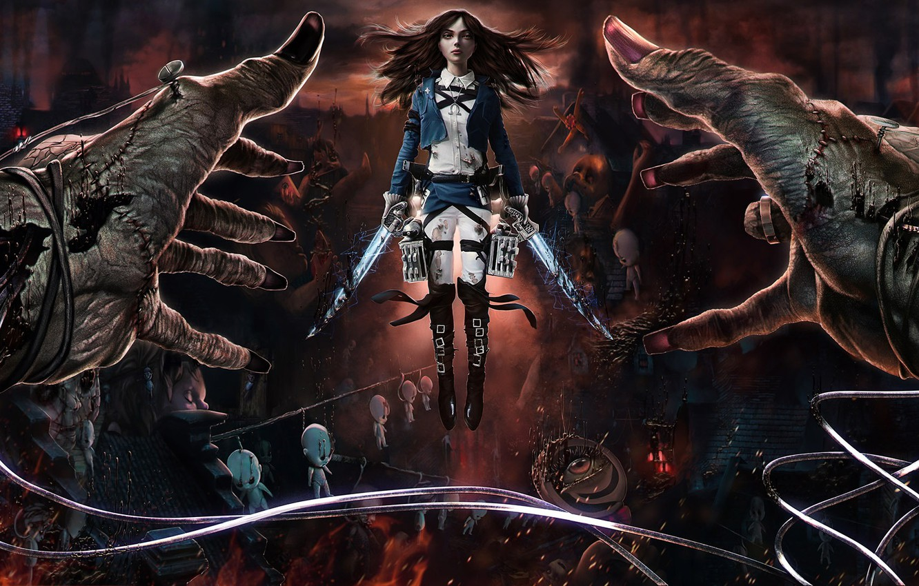Photo wallpaper crossover, alice, madness returns, Alice: Madness Returns, Attack on Titan, Shingeki no Kyojin