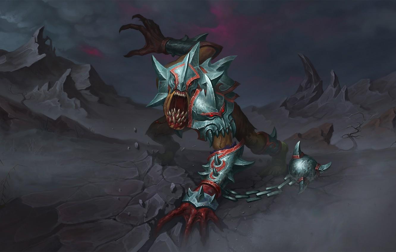 Photo wallpaper monster, armor, fan art, dota 2, lifestealer, does aix