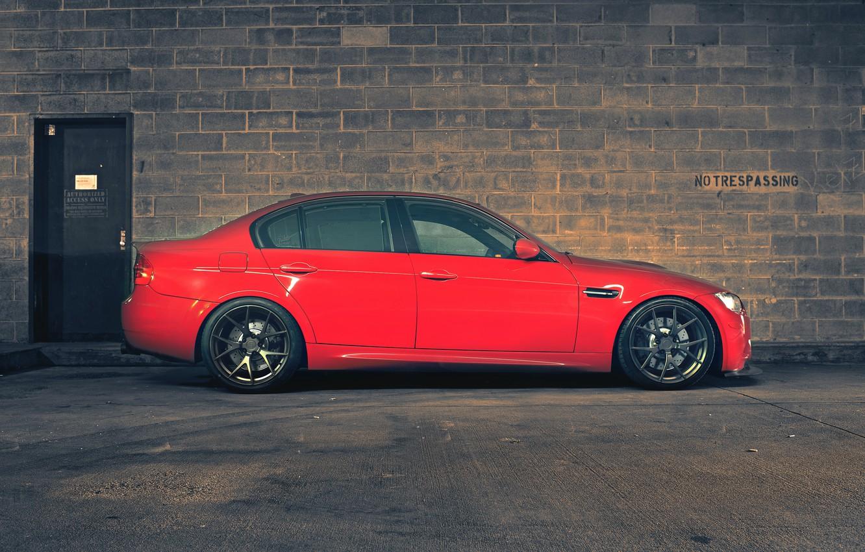 Photo wallpaper red, wall, bmw, BMW, profile, red, wall, wheels, bricks, sedan, drives, e90