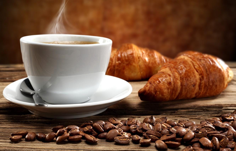 Photo wallpaper coffee, hot, Breakfast, Cup, cup, beans, coffee, croissants, growing, breakfast
