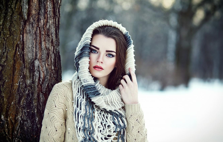Photo wallpaper Winter, Girl, Look, Lips, Hair, Maria, Beautiful