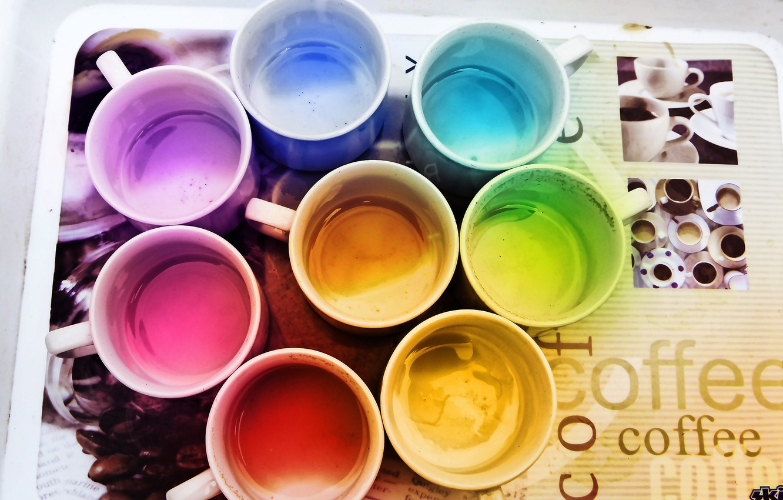 Photo wallpaper color, coffee, rainbow, mugs, tray