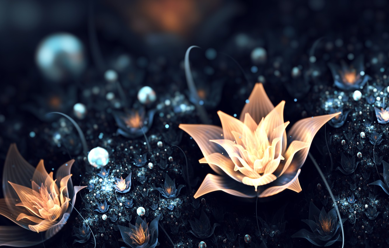 Photo wallpaper light, flowers, abstraction, glade