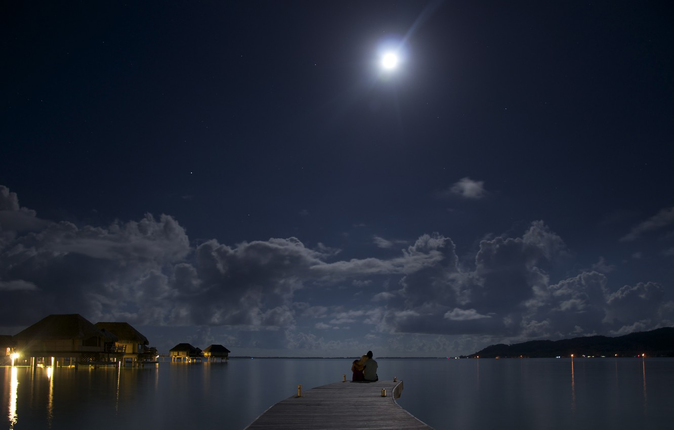 Photo wallpaper night, the ocean, the moon, romance, two