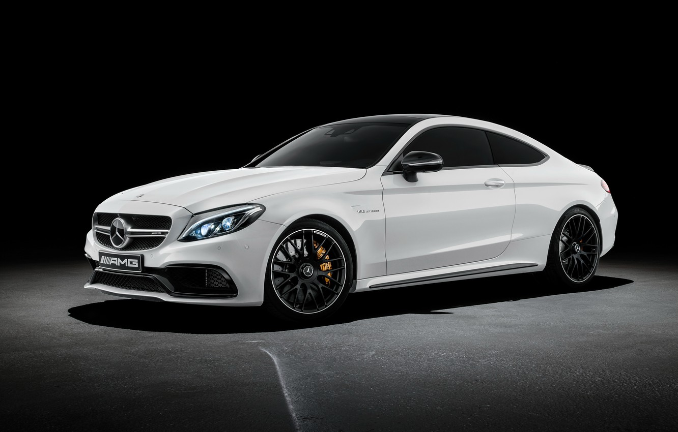 Photo wallpaper coupe, Mercedes-Benz, black background, Mercedes, AMG, Coupe, AMG, C-Class, C205