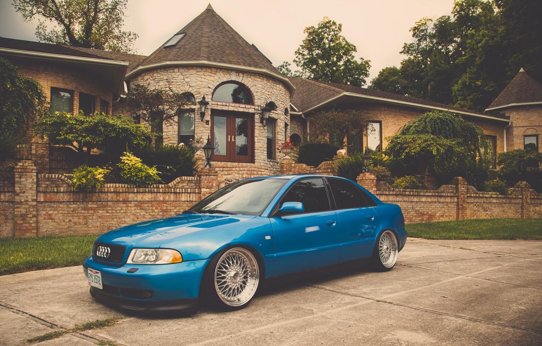 Photo wallpaper Audi, Audi, tuning, blue, blue, stance