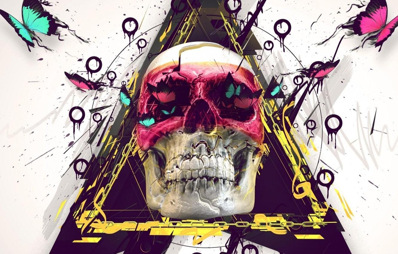 Photo wallpaper skull, white background, emo
