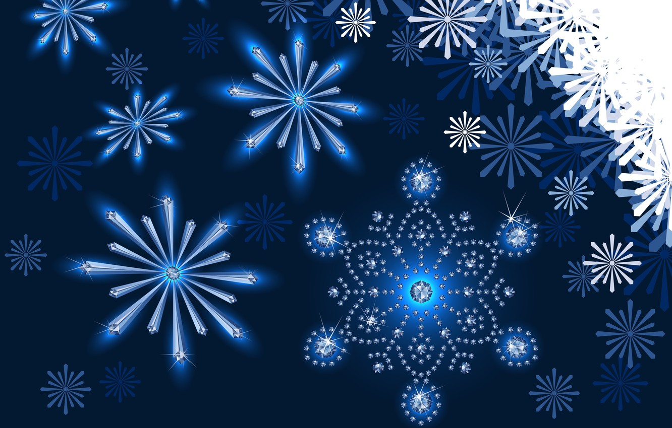 Photo wallpaper snowflakes, background, patterns, New year