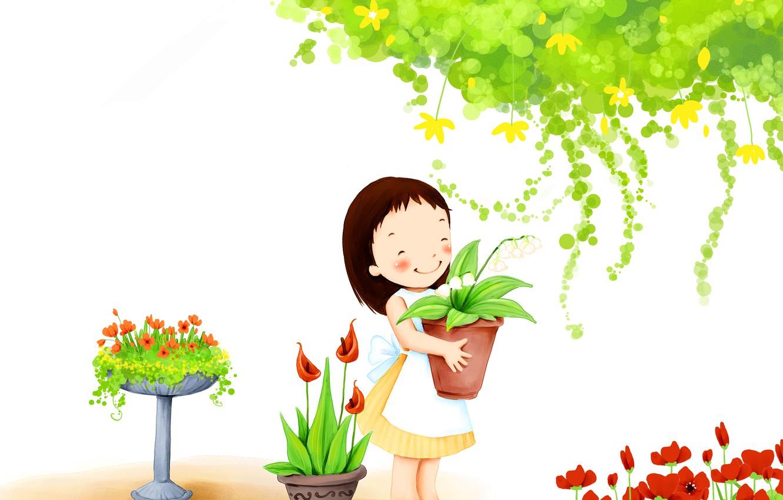 Photo wallpaper flowers, smile, foliage, girl, baby Wallpaper, pots, garden
