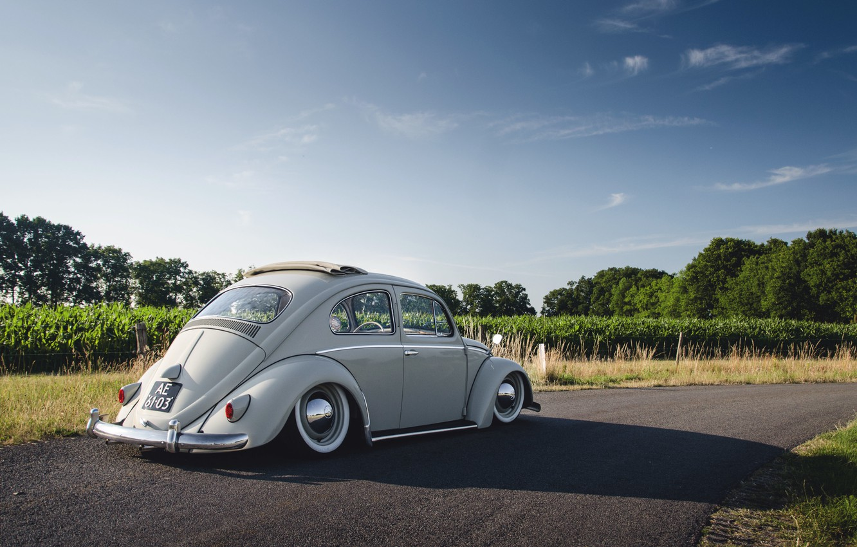 Photo wallpaper road, the sky, shadow, Volkswagen, Beetle, sunroof