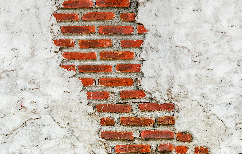 Photo wallpaper cracked, wall, brick, texture, masonry, plaster