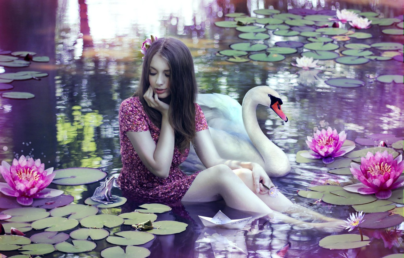 Photo wallpaper water, girl, magic, Swan, toad, water Lily, paper boat