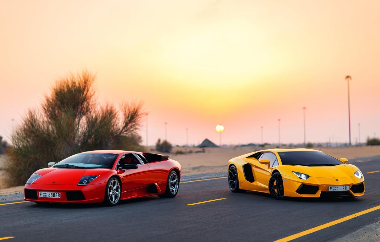 Photo wallpaper Lamborghini, Dubai, Aventador, Murciélago