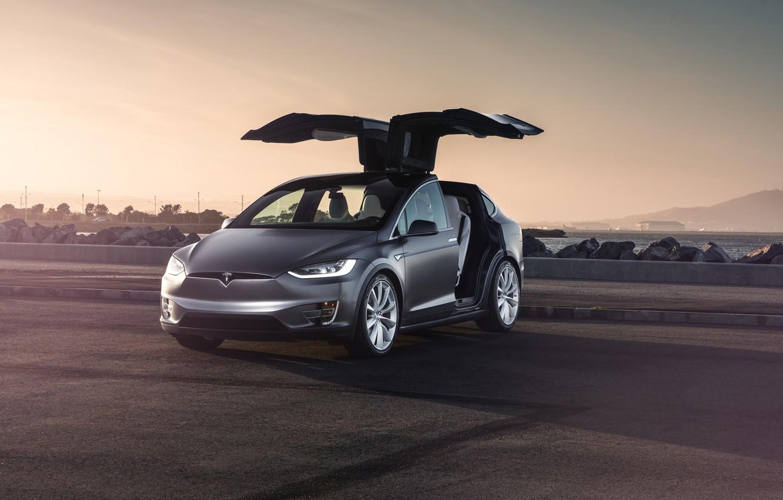 Photo wallpaper Car, Model, Tesla, Electric, Doors, X P90D