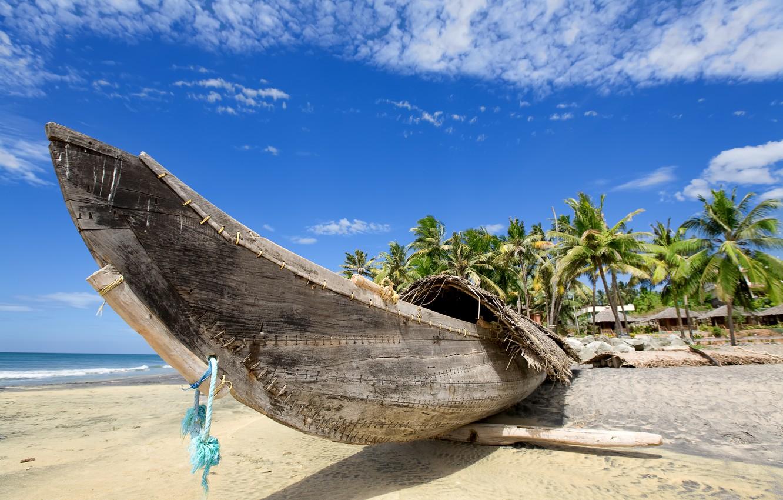 Photo wallpaper sand, sea, beach, summer, water, landscape, the ocean, shore, coast, boat, Paradise, summer, beach, coast, …