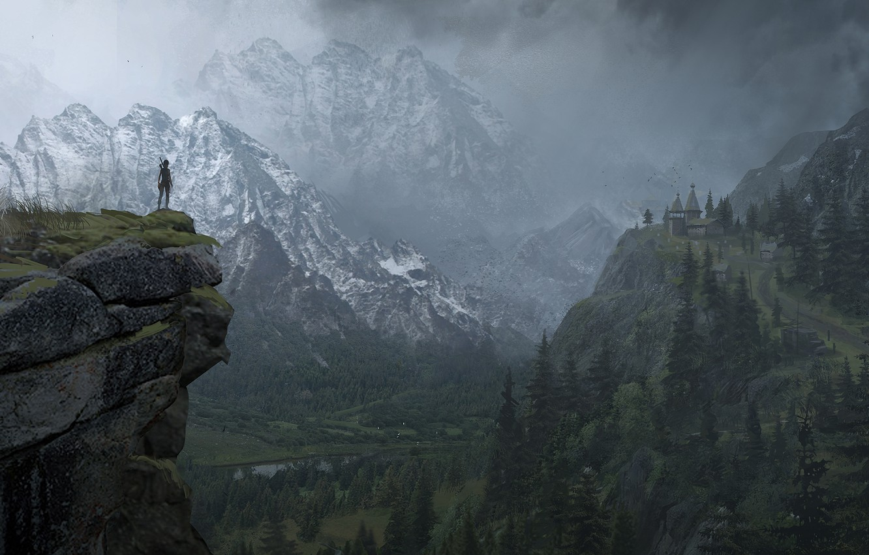 Photo wallpaper Mountains, Snow, Forest, Lara Croft, Art, Lara Croft, Rise of the: Tomb Raider