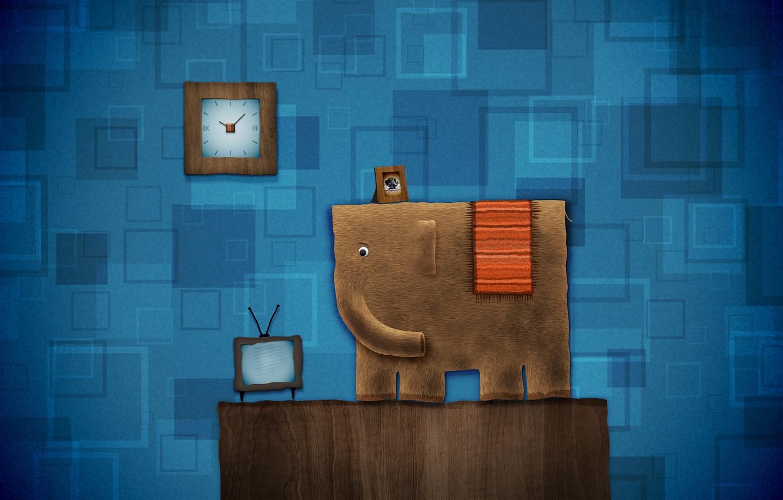 Photo wallpaper joy, blue, fiction, elephant, fun