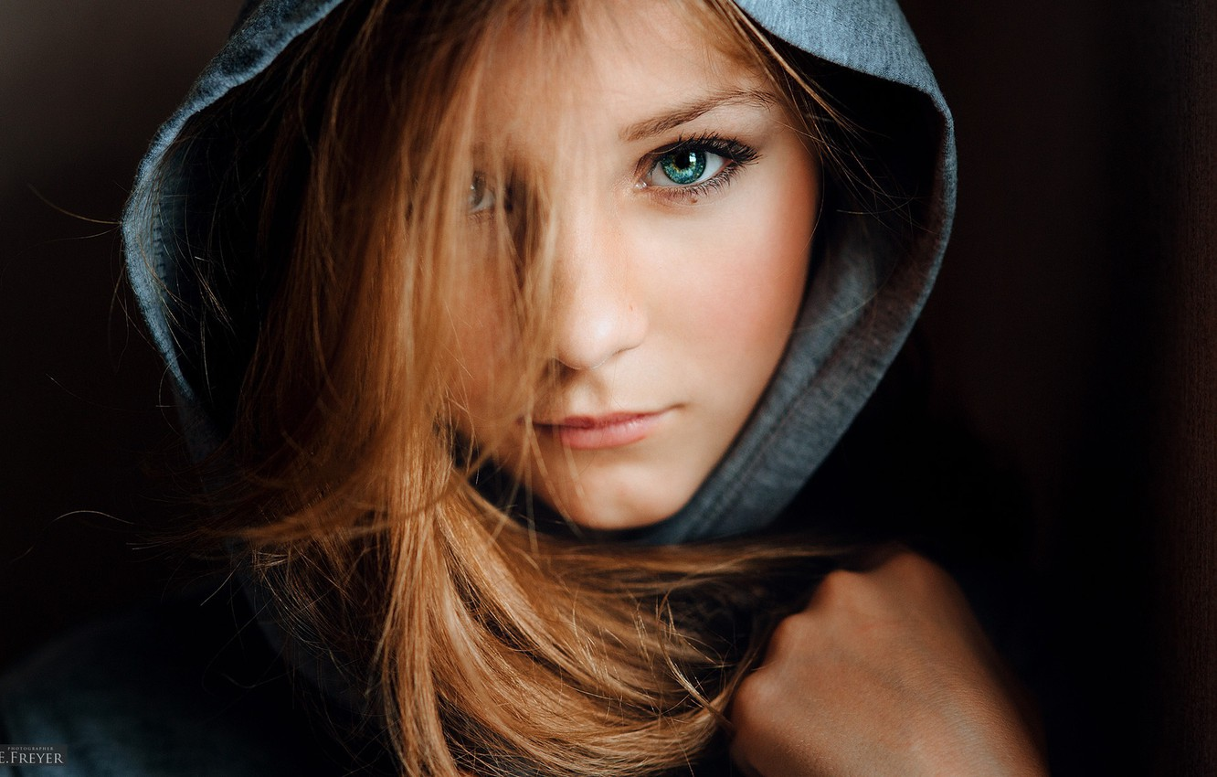 Photo wallpaper eyes, look, girl, hood