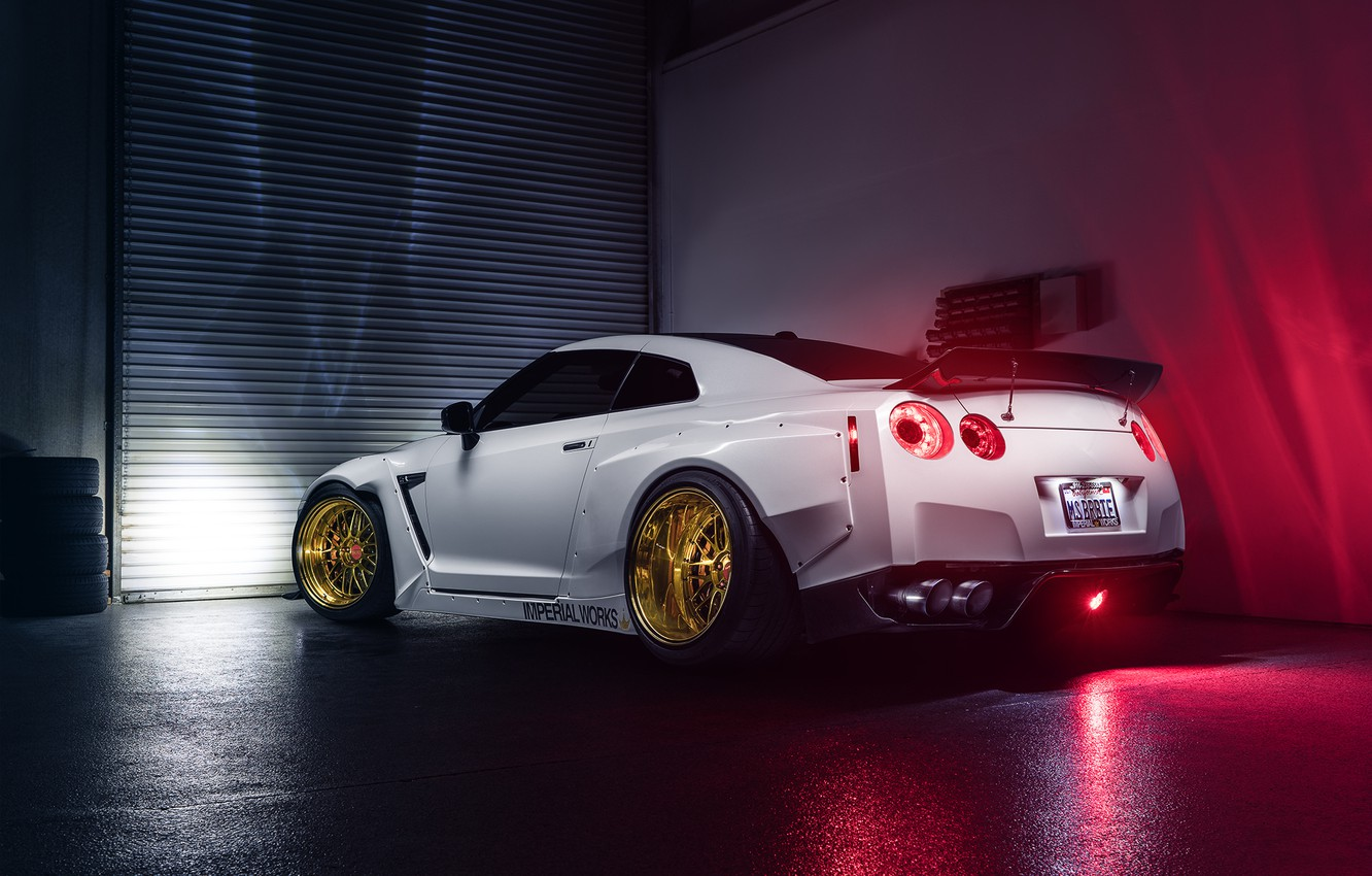 Photo wallpaper Imperial, Light, Nissan, GT-R, White, Garage, Rear, Works