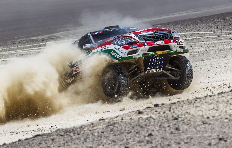 Photo wallpaper Auto, Dust, Wheel, Speed, Opel, Opel, Rally, Dakar, Dakar, SUV, The front