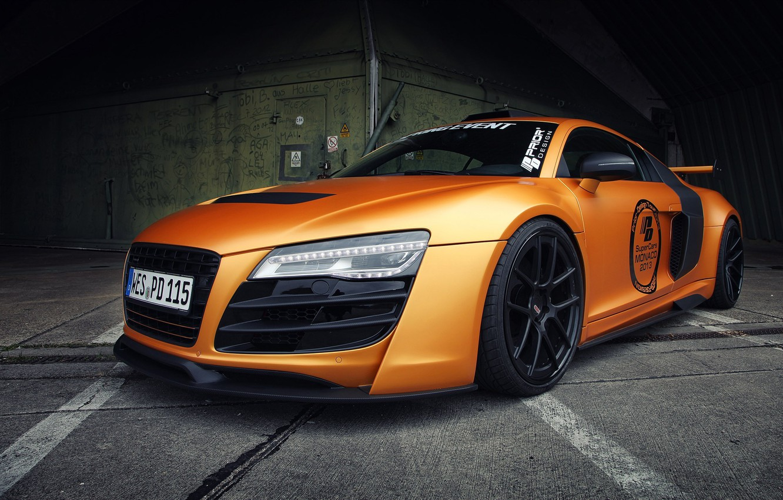 Photo wallpaper auto, machine, Audi, street, orange