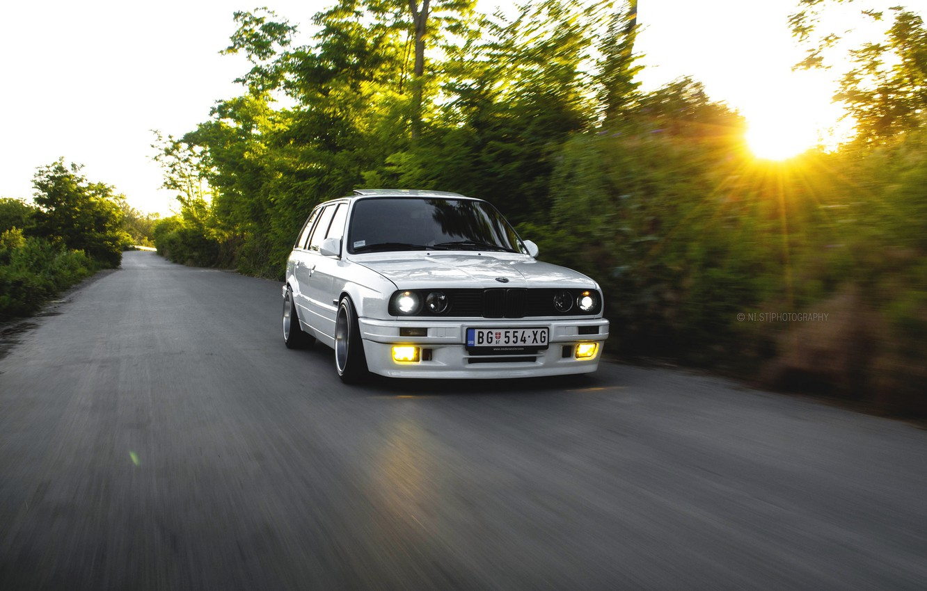 Photo wallpaper bmw, white, e30, 325