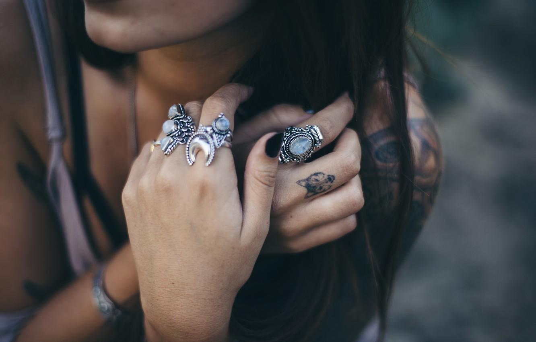 Photo wallpaper ring, hands, brunette, tattoo, fingers, tattoo