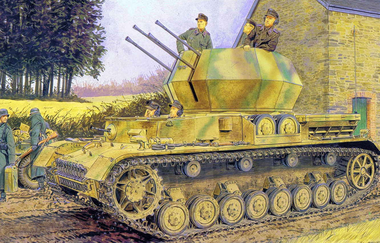 Photo wallpaper weapon, war, art, painting, tank, ww2, Flakpanzer IV Ausf G Wirbelwind