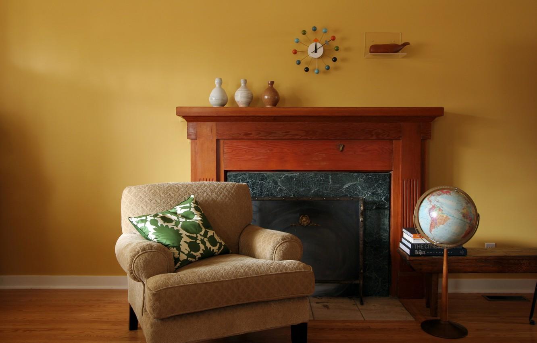 Photo wallpaper chair, pillow, fireplace, globe