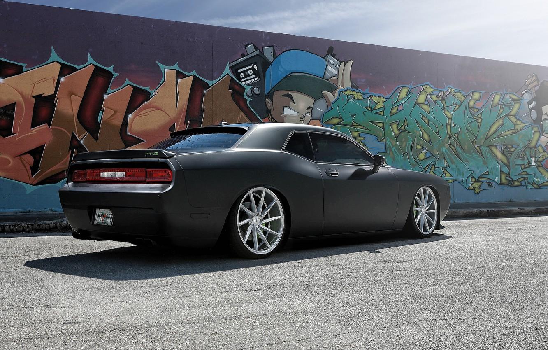 Photo wallpaper wall, black, graffiti, Dodge, SRT8, Challenger, Dodge Challenger SRT8