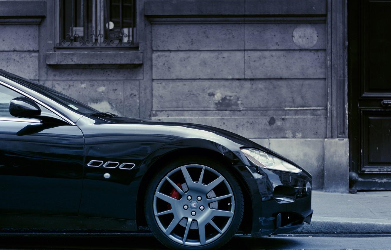 Photo wallpaper black, the building, wheel, disk, black, Maserati, rim, building, Maserati GranTurismo