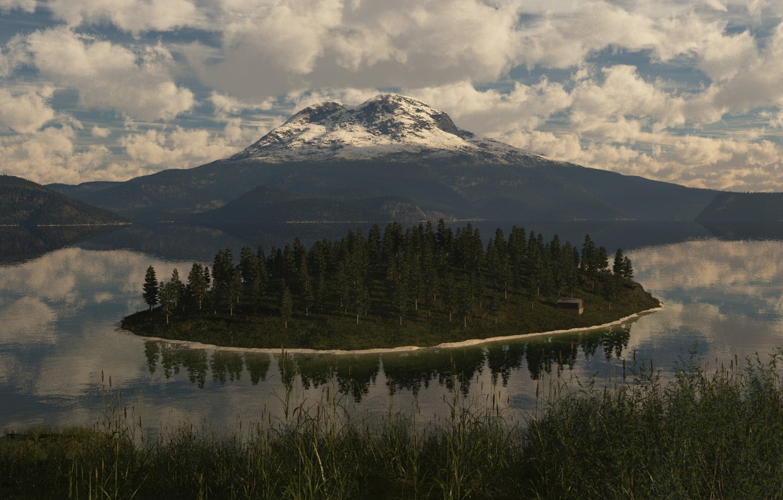 Photo wallpaper trees, nature, lake, island, mountain, art, building