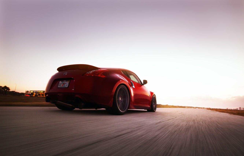 Photo wallpaper road, auto, speed, Nissan, 370Z