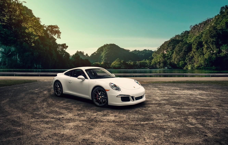 Photo wallpaper 911, Porsche, Landscape, Carrera, White, Mountains, Supercar
