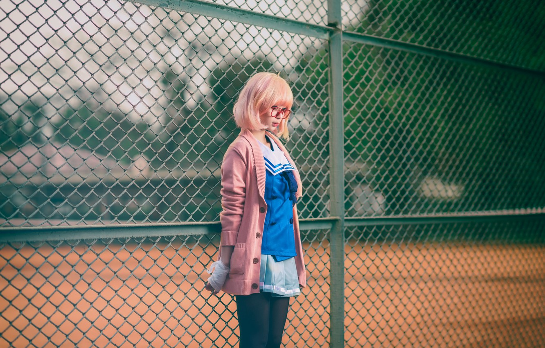 Photo wallpaper girl, face, mesh, clothing, hair, the fence, color, skirt, glasses, legs, Asian