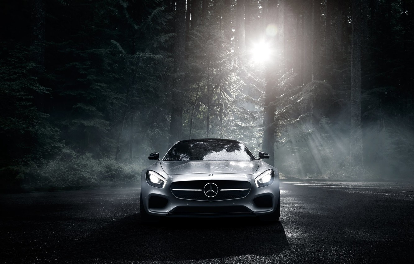 Photo wallpaper Mercedes-Benz, Dark, Front, AMG, Sun, Color, Silver, Forest, 2016, GT S