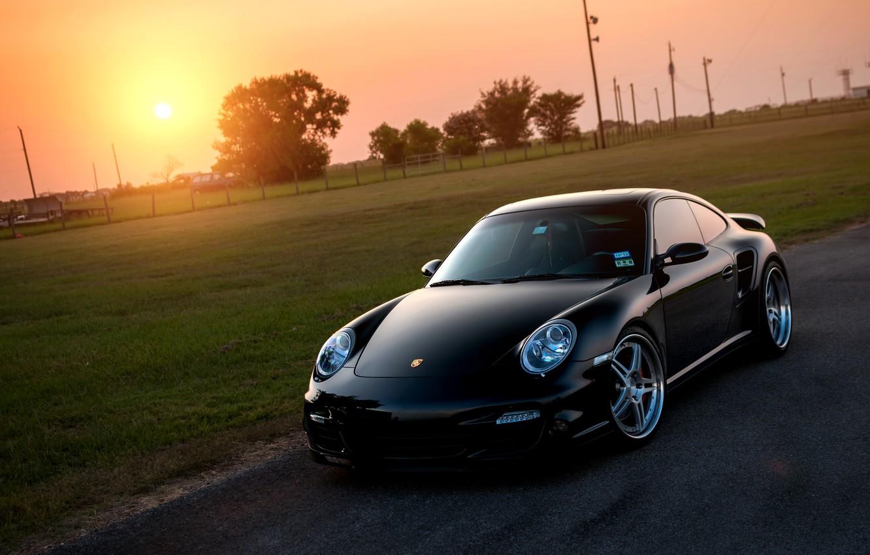 Photo wallpaper the sun, lawn, black, 911, 997, Porsche, Porsche, black, Blik, front, Turbo