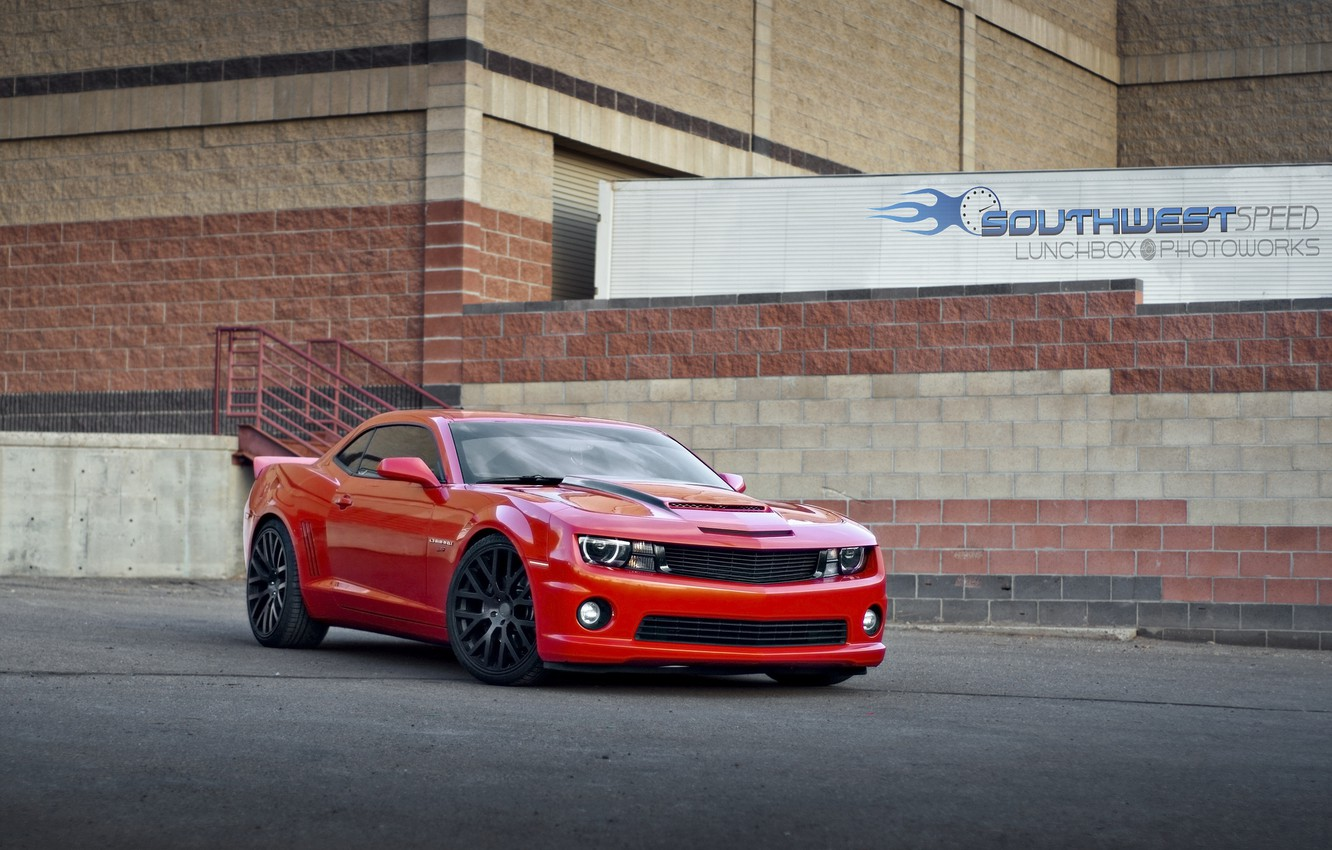 Photo wallpaper red, the building, red, Chevrolet, chevrolet, camaro ss, Camaro SS