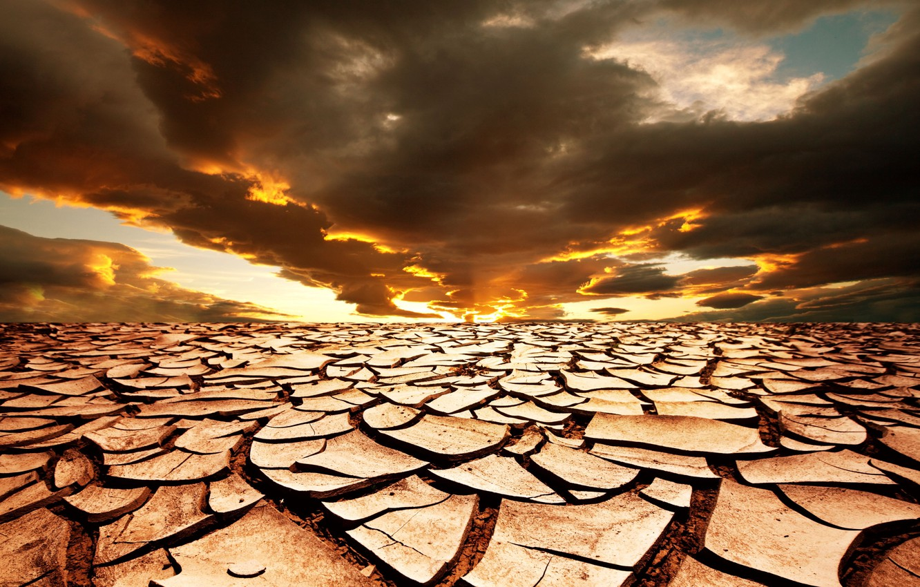 Photo wallpaper sand, the sky, the sun, landscape, sunset, clouds, cracked, drought, horizon, Africa, dark, Africa, drought, …