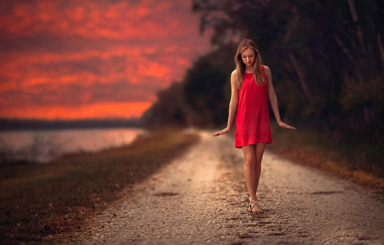 Photo wallpaper road, girl, sunset, sweetheart, dress, the beauty, gait