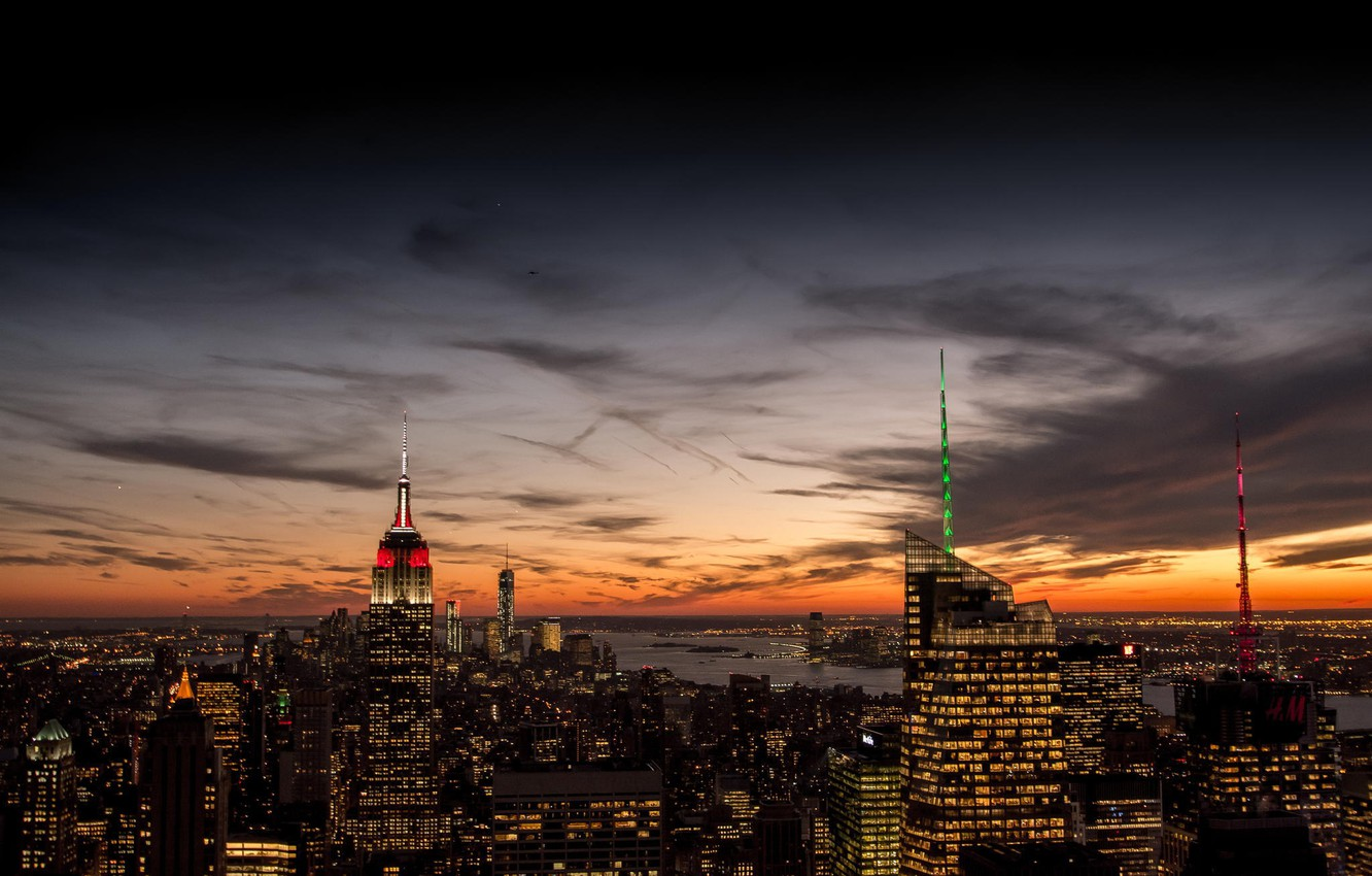 Photo wallpaper the sky, clouds, sunset, orange, the city, lights, view, building, home, New York, skyscrapers, the ...