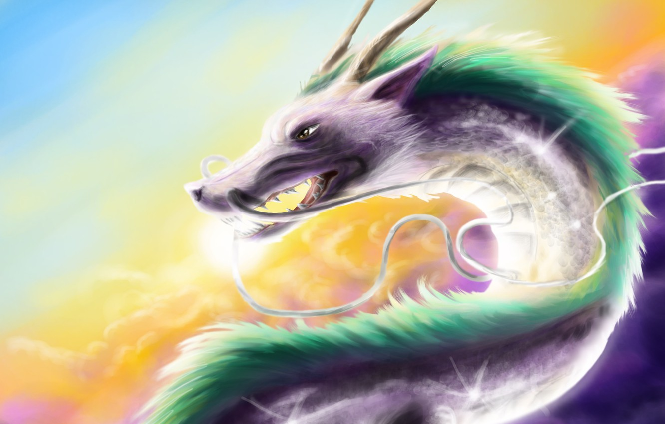 Photo wallpaper mustache, dragon, head, art, horns, spirited away, spirited away