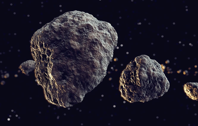 Photo wallpaper space, universe, rocks, meteors