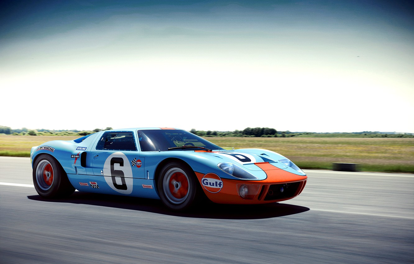Photo wallpaper speed, Ford, blue, Wheelsandmore, front, GT40