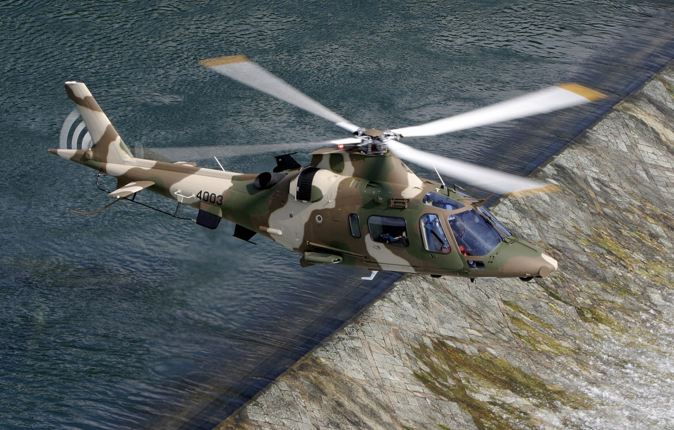 Photo wallpaper river, Italy, helicopter, Power, flies, the threshold, multipurpose, Agusta, easy, With, АW109