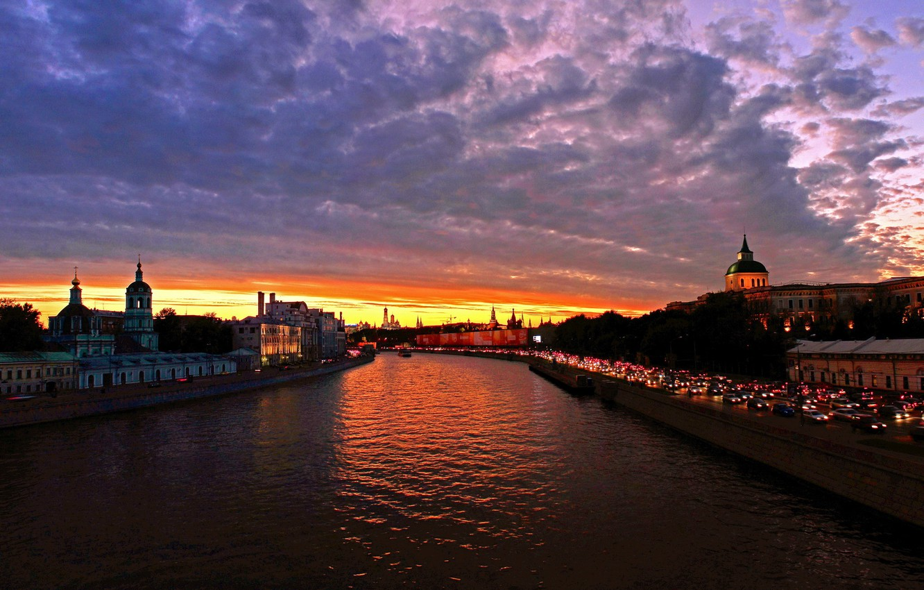 Photo wallpaper the sky, clouds, sunset, the city, river, photo, dawn, Moscow, Russia, water channel