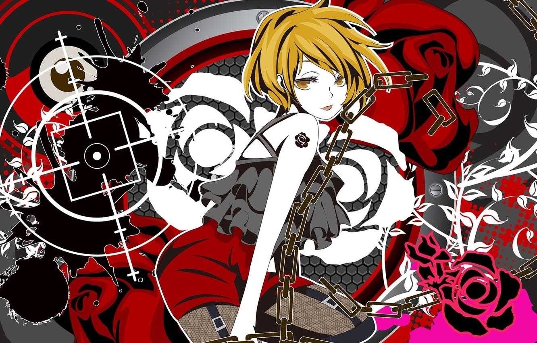 Photo wallpaper girl, rose, anime, tattoo, chain, short hair
