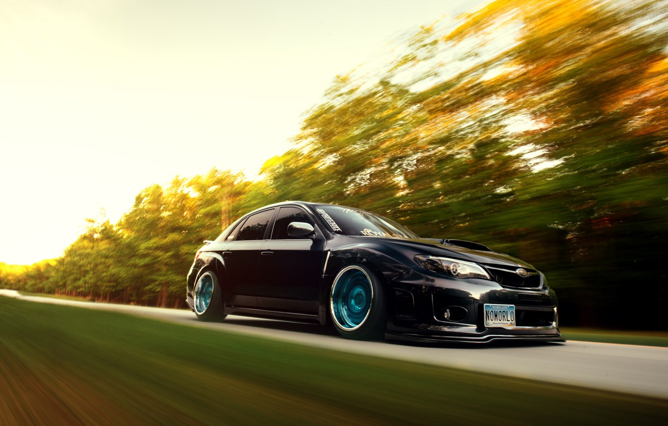 Photo wallpaper car, subaru, in motion, wrx, impreza, speed