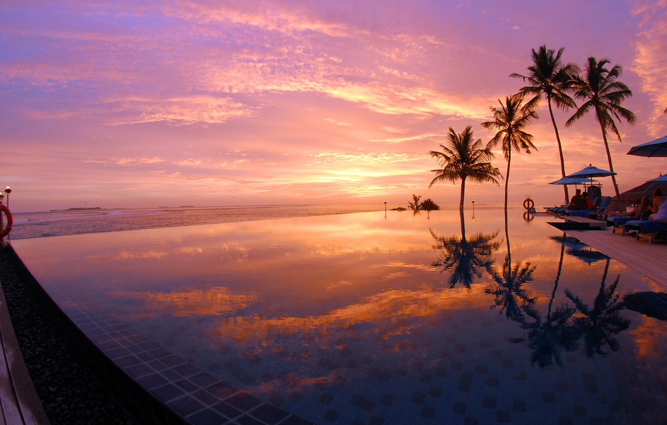 Photo wallpaper palm trees, the ocean, the evening, pool, Maldives