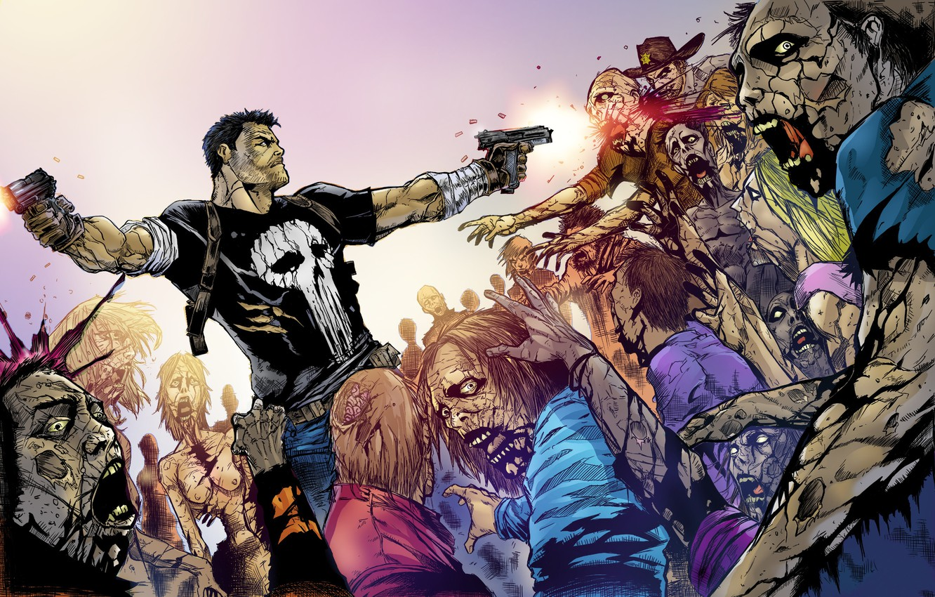 Wallpaper Zombies Crossover The Punisher The Walking Dead The